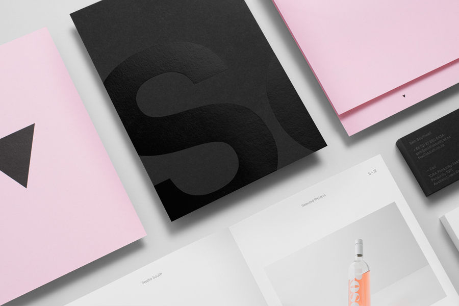 Black block foil and black paper stationery for Auckland based graphic design business Studio South