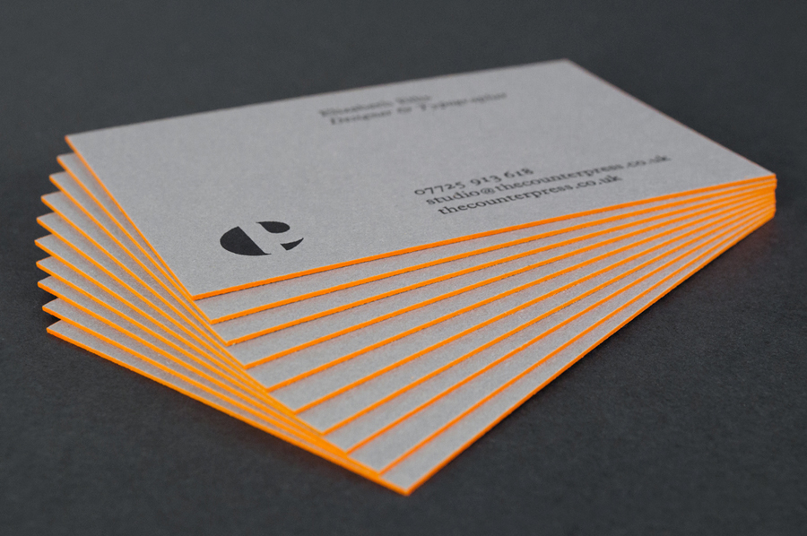 Letterpress business card with orange edge painted detail for The Counter Press