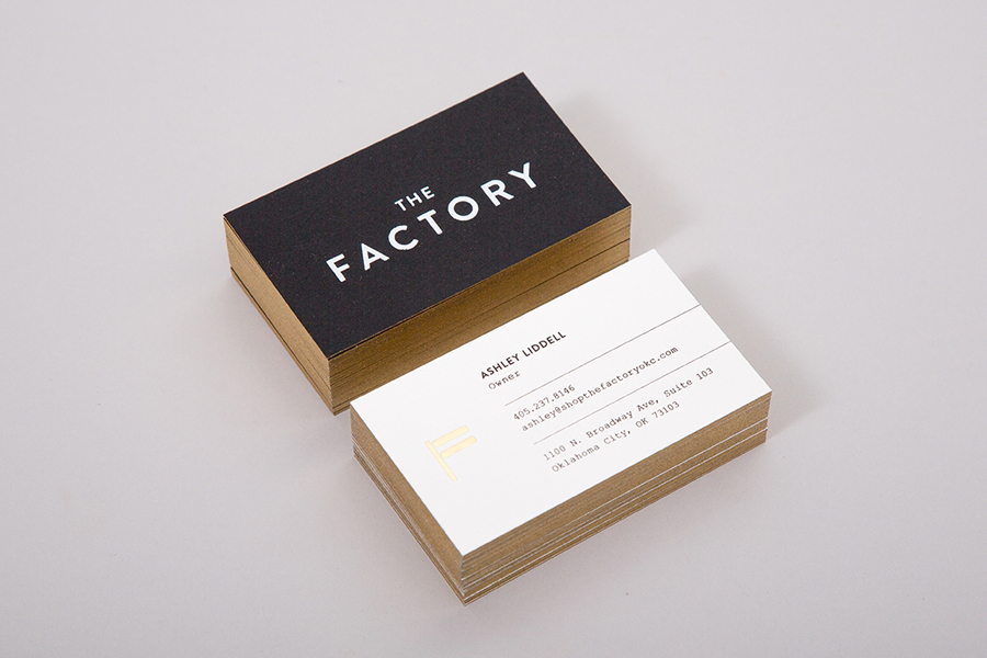 Gold edge painted business cards for The Factory by Oklahoma based graphic design studio Ghost