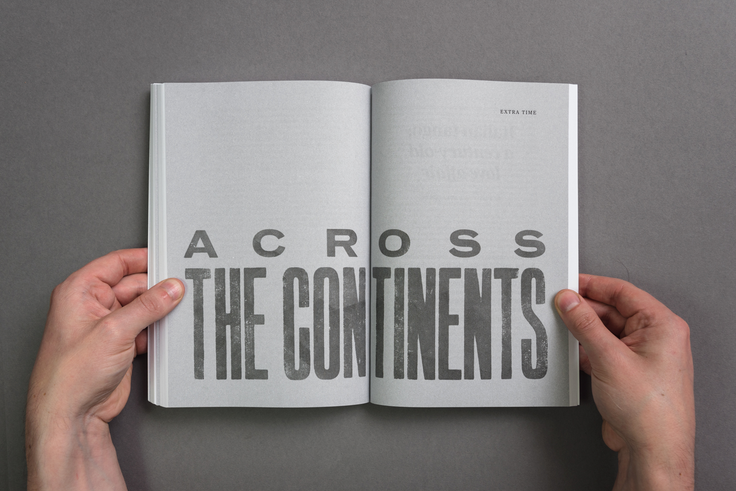 Double page spread created by London-based design studio, private press and typography workshop The Counter Press for Tiro, released by UK independent publisher Rattis Books.