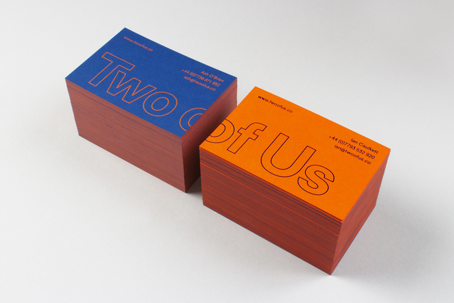 Duplex Colorplan business cards for British brand identity design studio Two of Us