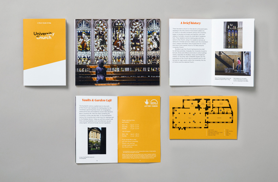 Visual identity and print for University Church designed by Spy