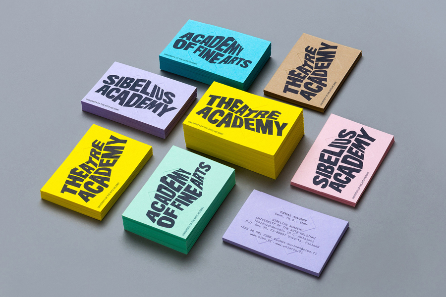 Business card design with pastel coloured board and blind emboss detail by Bond for University of the Arts Helsinki