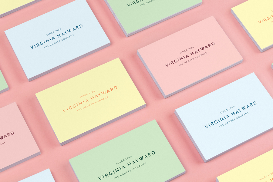 Pastel coloured business cards designed by Salad for British hamper business Virginia Hayward