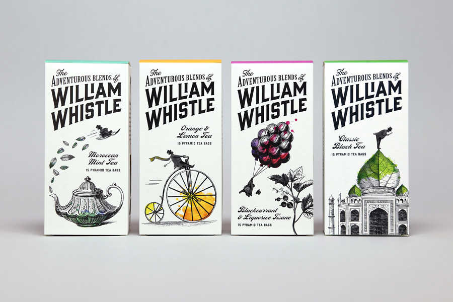 Tea packaging for tea and coffee brand William Whistle by Horse