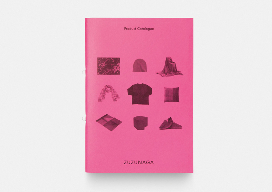Brochure with pink paper detail for fashion accessory and homeware brand Zuzunaga designed by Folch