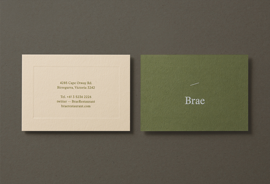 Business card design with coloured paper and blind emboss detail for restaurant Brae by Studio Round