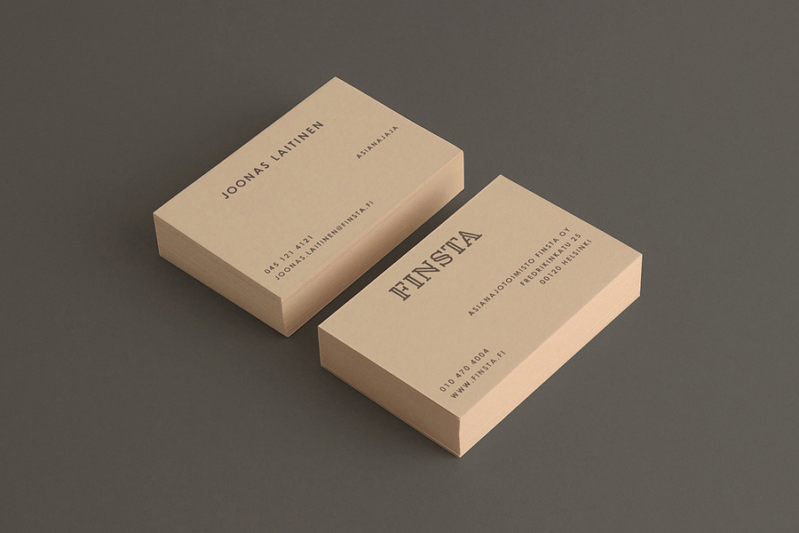 Business card design with coloured card detail for Finnish law firm Finista by Werklig
