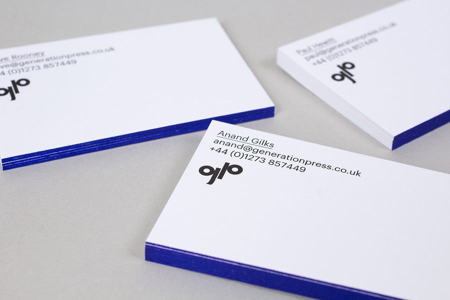 Business card design with blue edge painted detail for printer Generation Press by Build