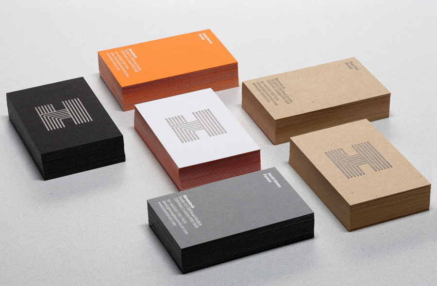 Business card design with white ink, coloured and unbleached material detail for architectural practice Haverstock by Spy