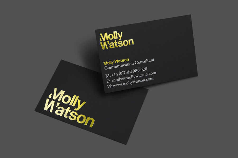 Business card design with black card and yellow foil detail for communication consultant Molly Watson by Studio Blackburn