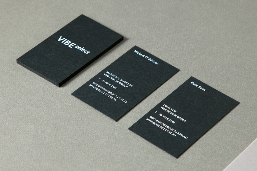 Black business card design with white ink detail for architecture firm Vibe Select by Studio Constantine