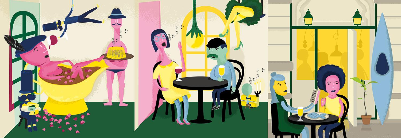 Illustration for Stockholm restaurant Österlånggatan 17 by Lobby Design