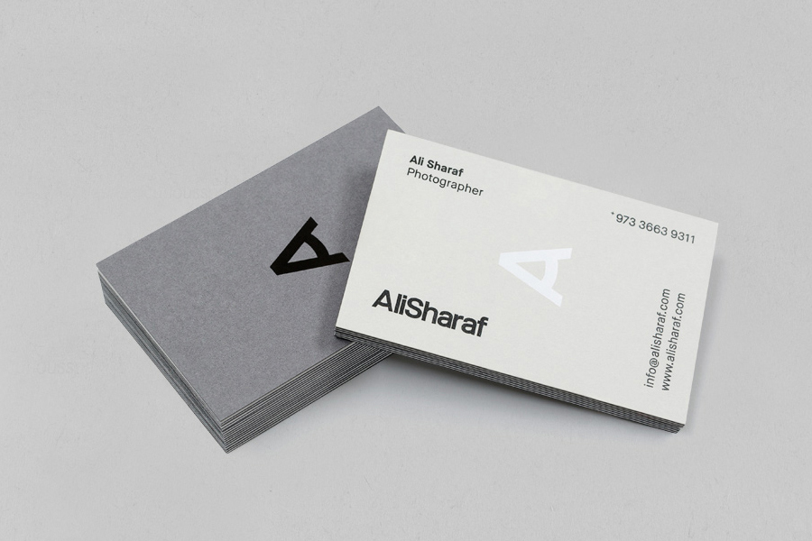 Duplex business card design for photographer Ali Sharaf by Mash Creative