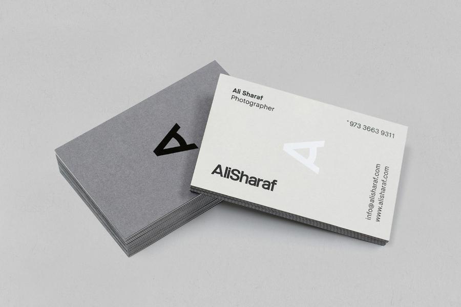 Duplex business card design for photographer Ali Sharaf by Mash Creative