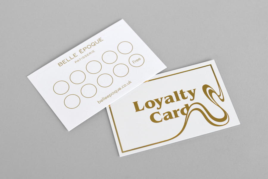 Gold foiled loyalty card for London based French Patisserie Belle Epoque by Mind Design