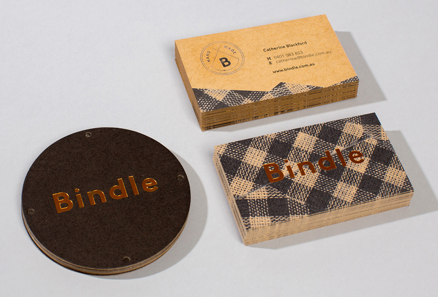Unbleached business card design with copper block foil detail for Bindle by Swear Words