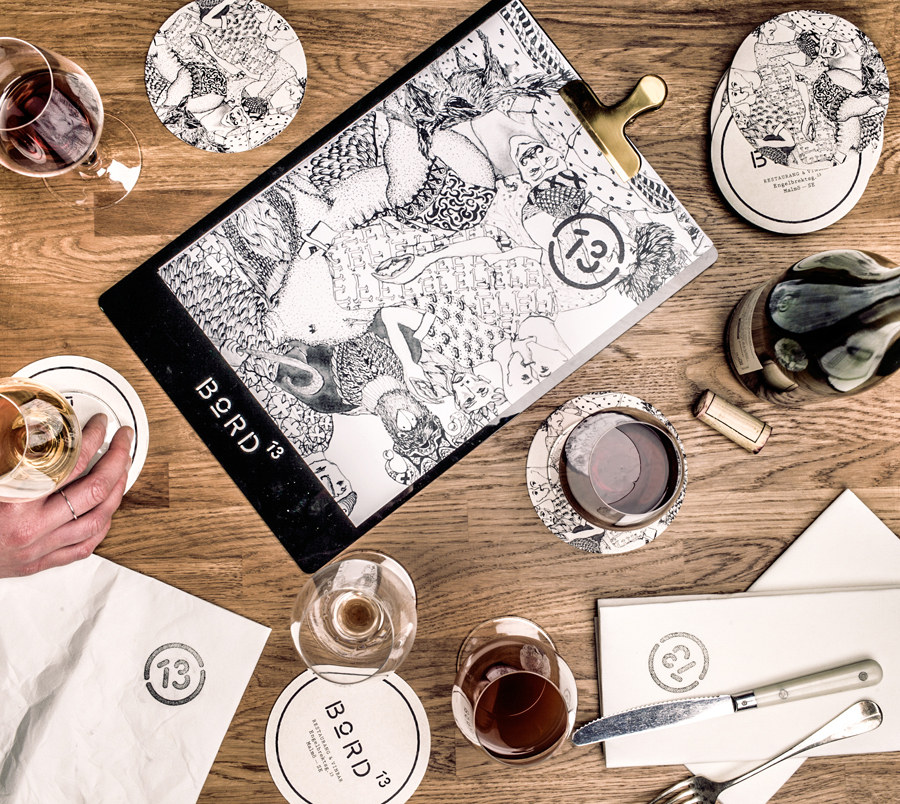 Logo, menu and coasters for Malmö restaurant Bord 13 by Swedish graphic design studio Snask.