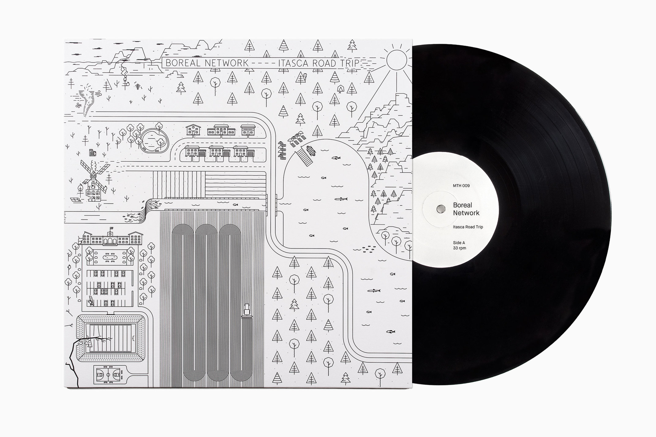 Illustrated record sleeve for Itasca Road Trip by Boreal Network, designed by Bedow, Sweden