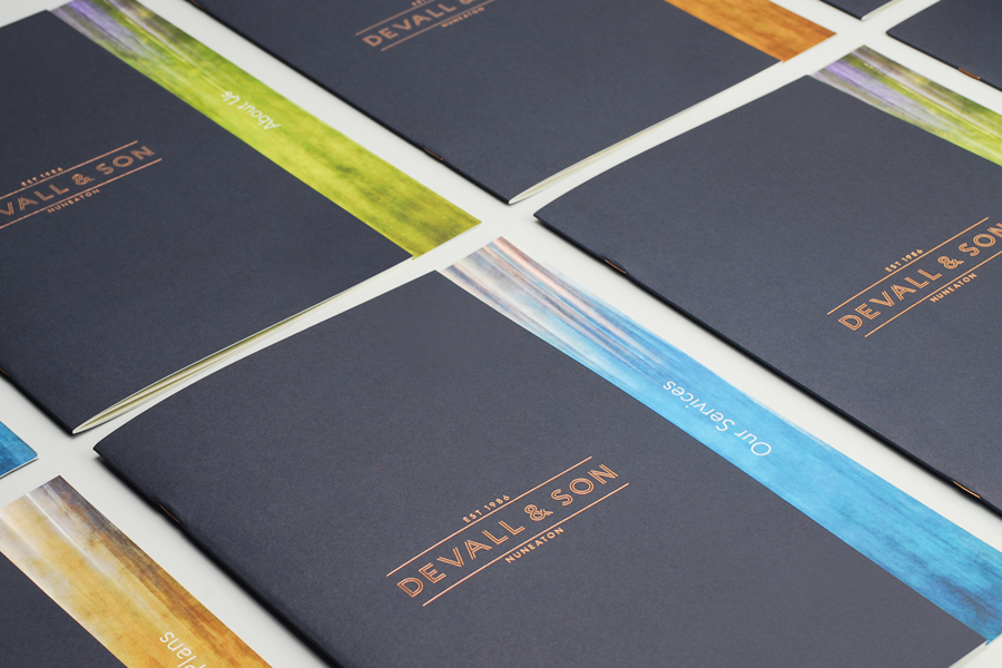 Logotype and brochure with coloured card and copper foil detail by Parent for funeral director Devall & Son