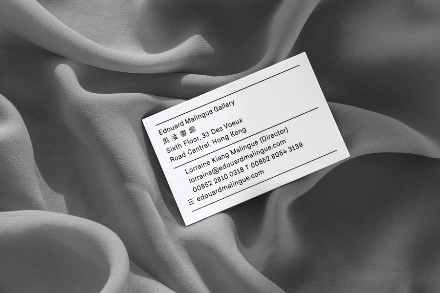 Business card for Edouard Malingue Gallery by graphic design studio Lundgren+Lindqvist