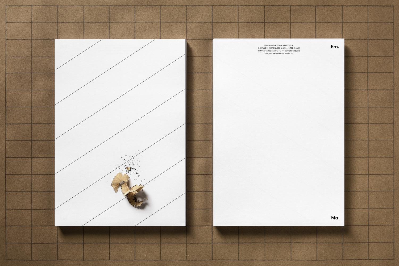 Brand identity and headed paper for Emma Magnusson Arkitektur by Lundgren+Lindqvist, Sweden