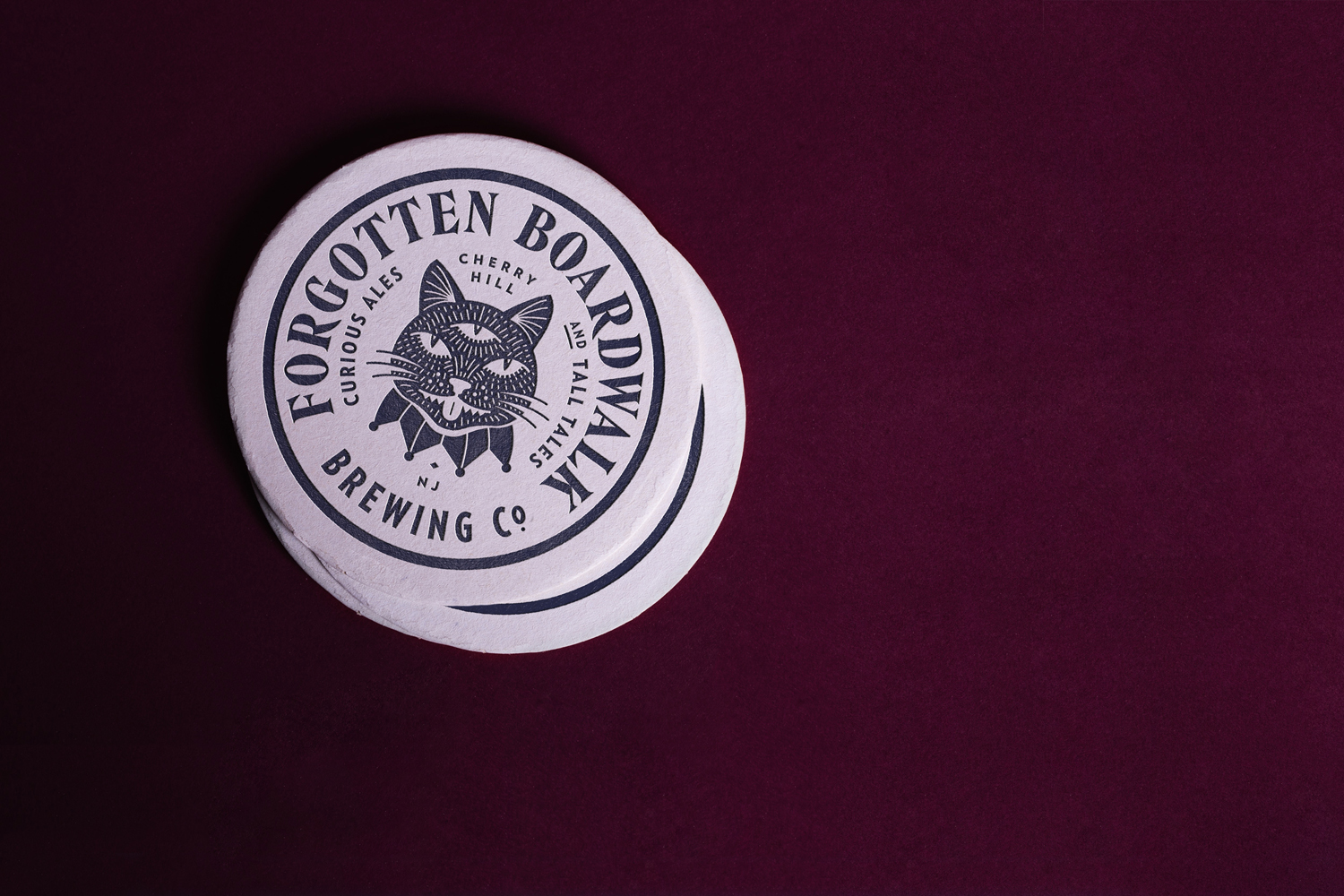 Brand identity and letterpress beer mats for Forgotten Boardwalk Brewing by Perky Bros