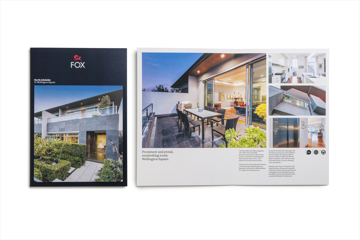 Brand identity and brochure for Fox Real Estate by Parallax Design, Australia