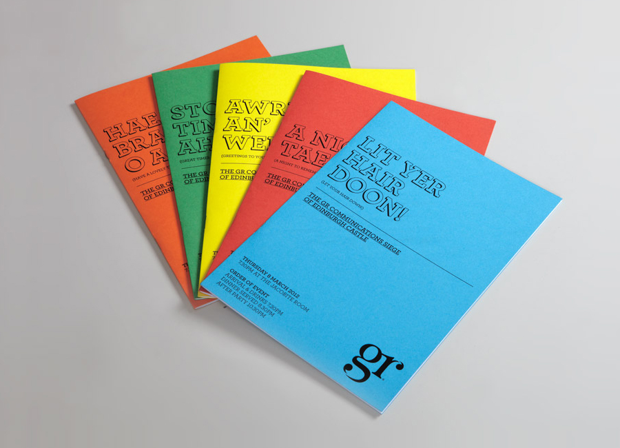 Print with monogram and coloured paper detail created by Ascend for PR agency GR Communications