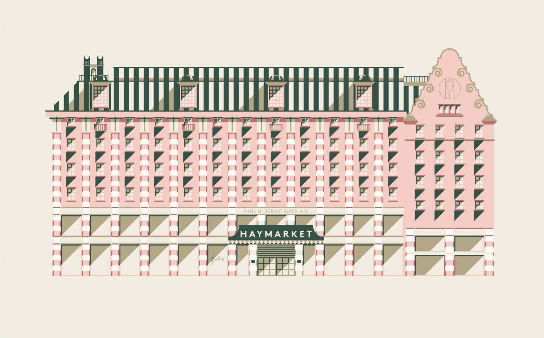Brand identity and illustration for Stockholm-based cafe Gretas at Haymarket designed by 25AH, Sweden