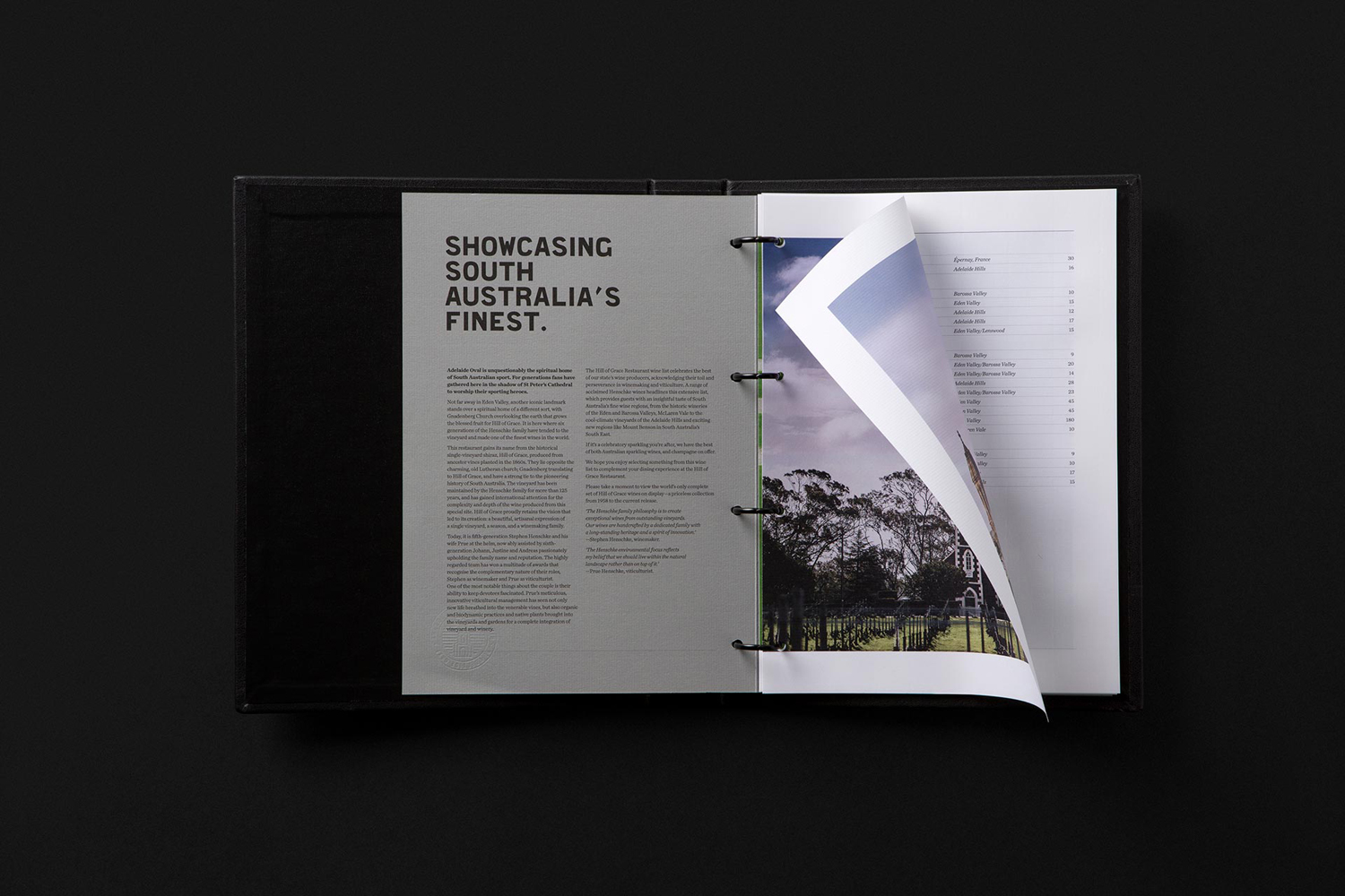 Brand identity and menu design by Band for restaurant Hill Of Grace at Adelaide Oval