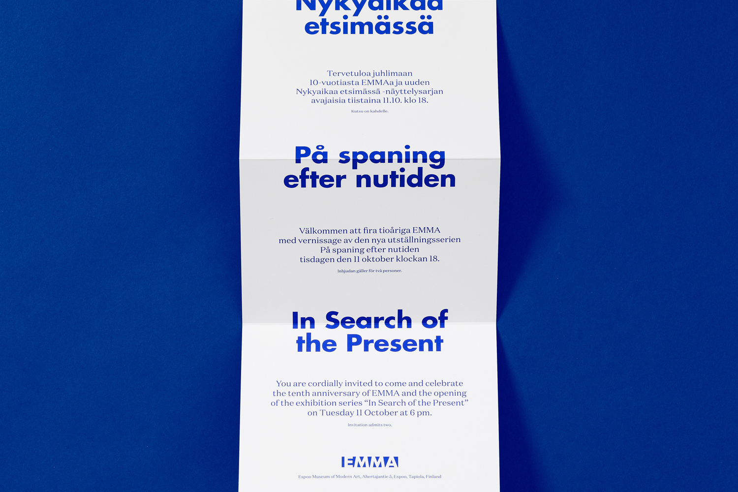 Brand identity and print designed by Helsinki-based Werklig for EMMA exhibition series In Search Of The Present