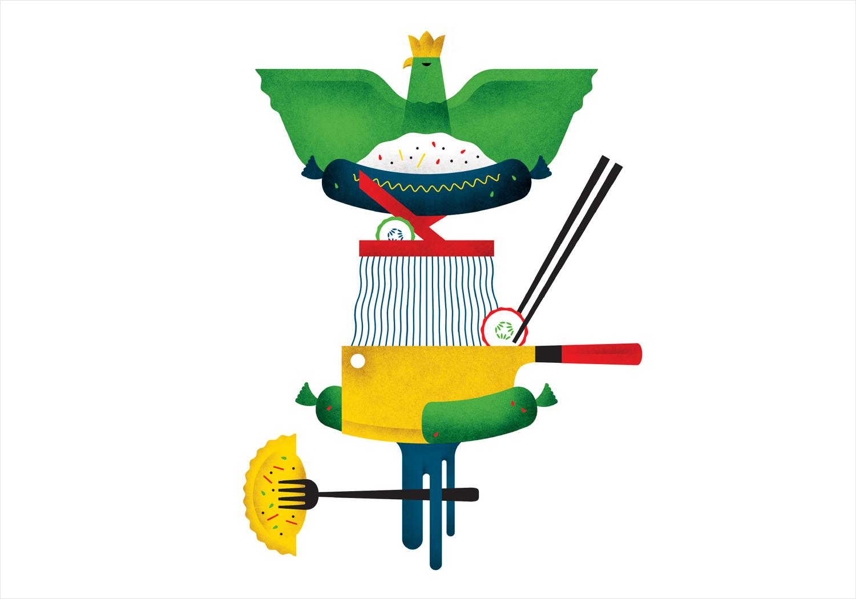 Illustration by New York graphic design studio Franklyn for Chicago's Korean Polish street food restaurant Kimski