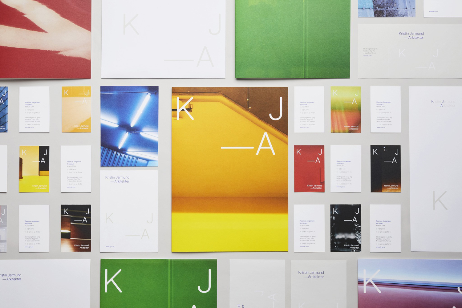 Logo, stationery and business cards designed by Snøhetta for Oslo-based Kristin Jarmund Architects