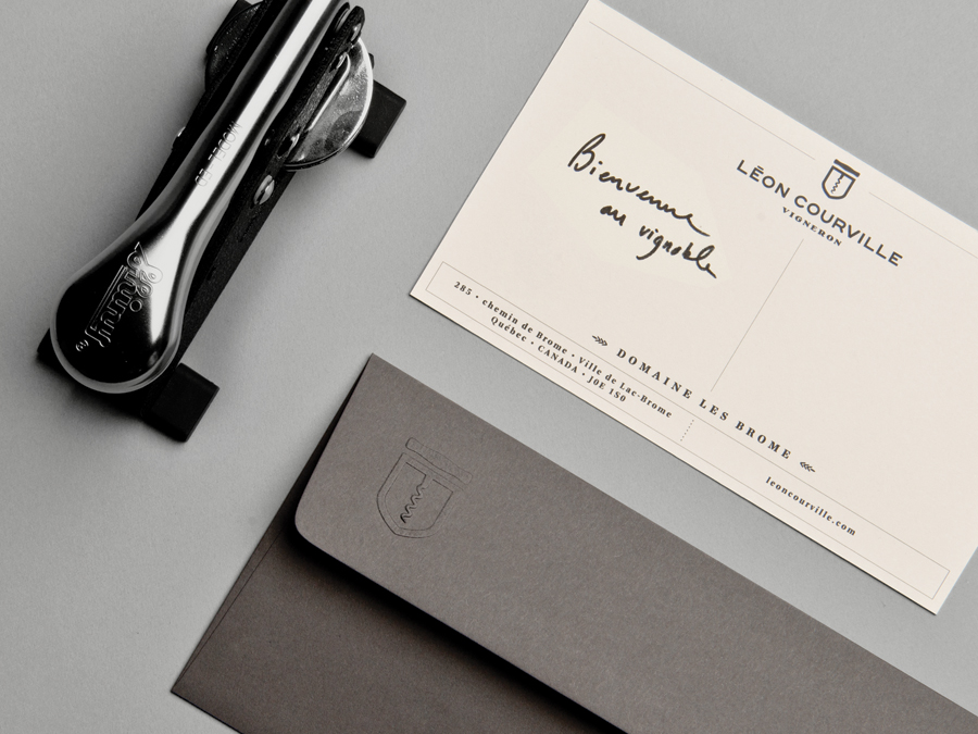 Blind embossed stationery for wine producer Léon Courville Vigneron by lg2 boutique