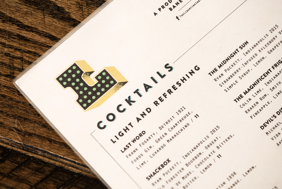 Visual identity and menu designed by CODO for Indianapolis liquor bar Libertine