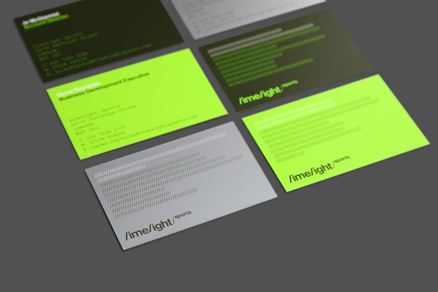 Business cards for Limelight Sports designed by Studio Blackburn