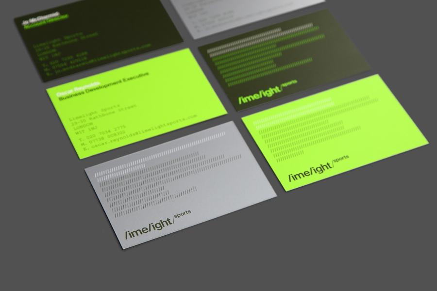 Business cards for Limelight Sports designed by Studio Blackburn