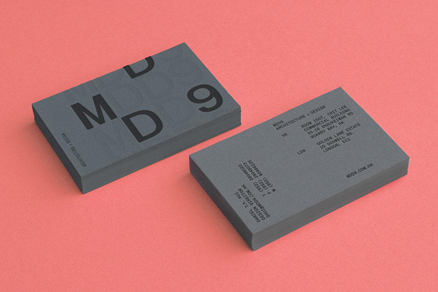 Business card design with colour board and blind emboss detail by Two Times Elliott for architecture firm MDD9