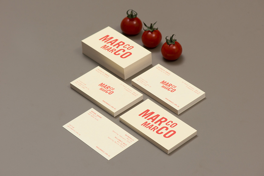 Business card for Italian restaurant Marco Marco by Acre