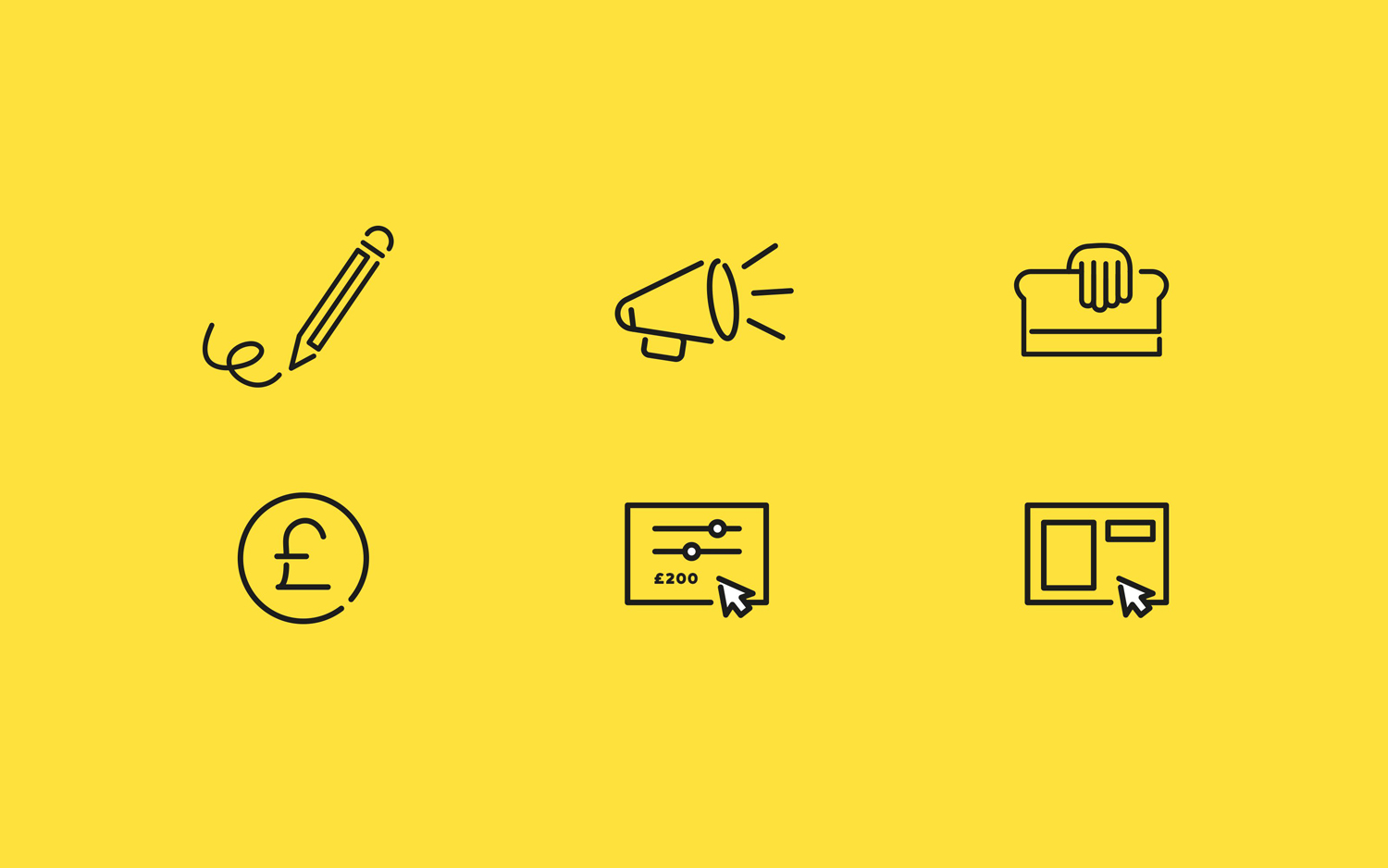 Icons for UK based custom merchandise business Mercht by Robot Food