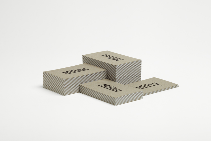 Logo and duplex business card with deboss detail designed by Hi Ho for Melbourne-based boutique developer Milieu