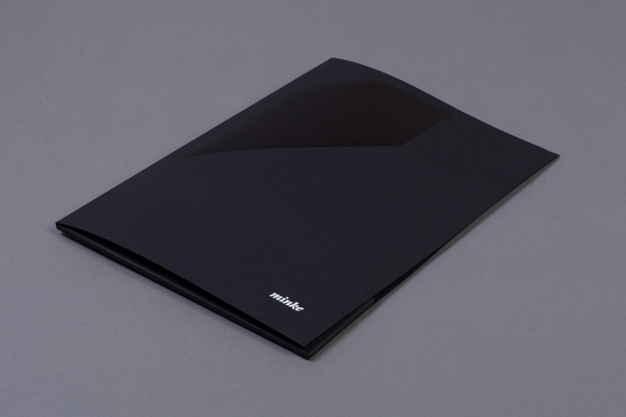 Folder with foil detail by Atipo for print production studio Minke