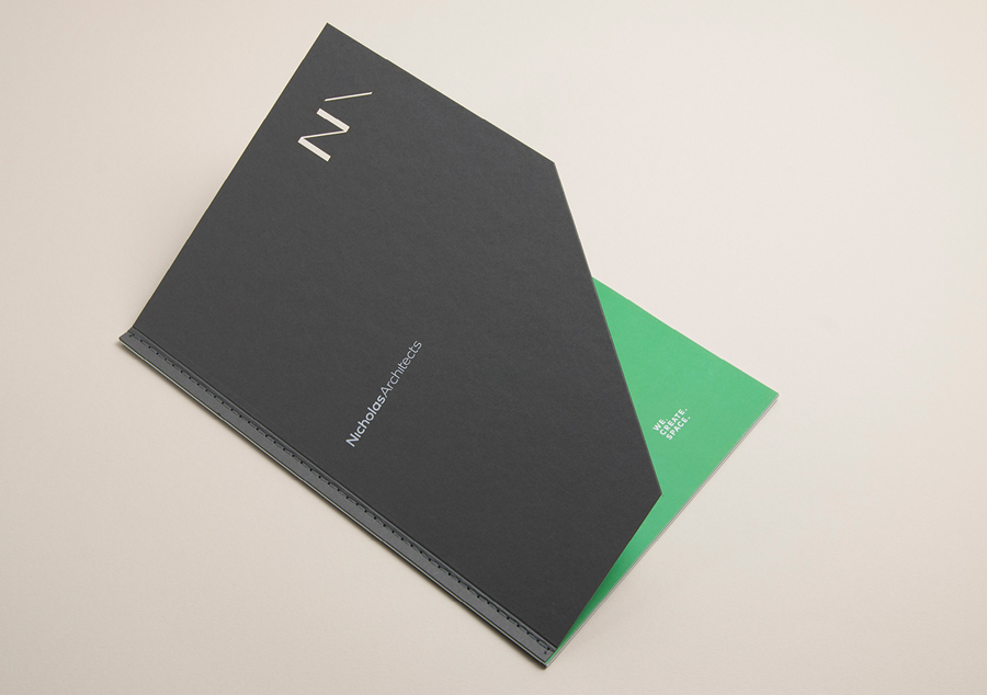 Brochure and brand identity guidelines for Nicholas Architects by Strategy Design, New Zealand