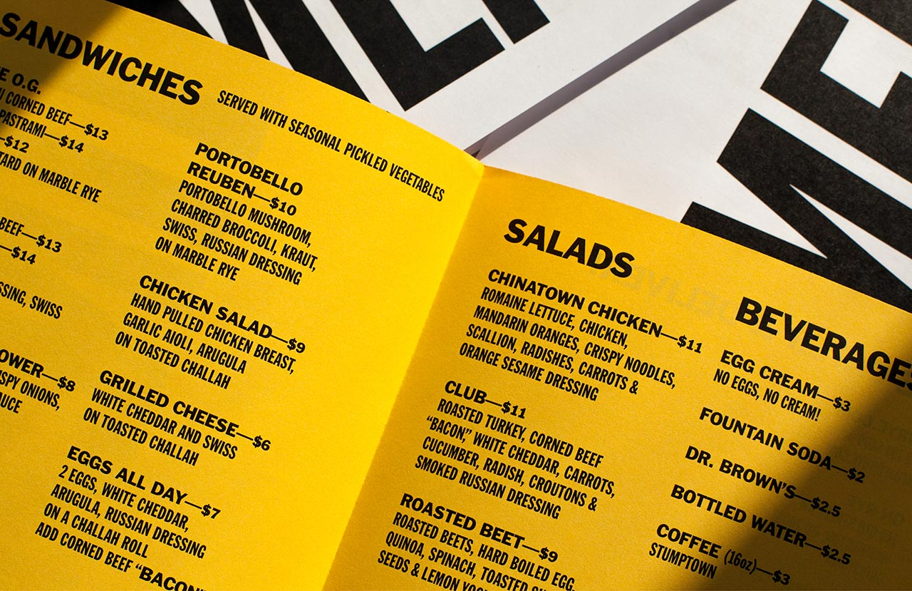 Brand identity and menus design by Pentagram for Washington DC sandwich shop On Rye