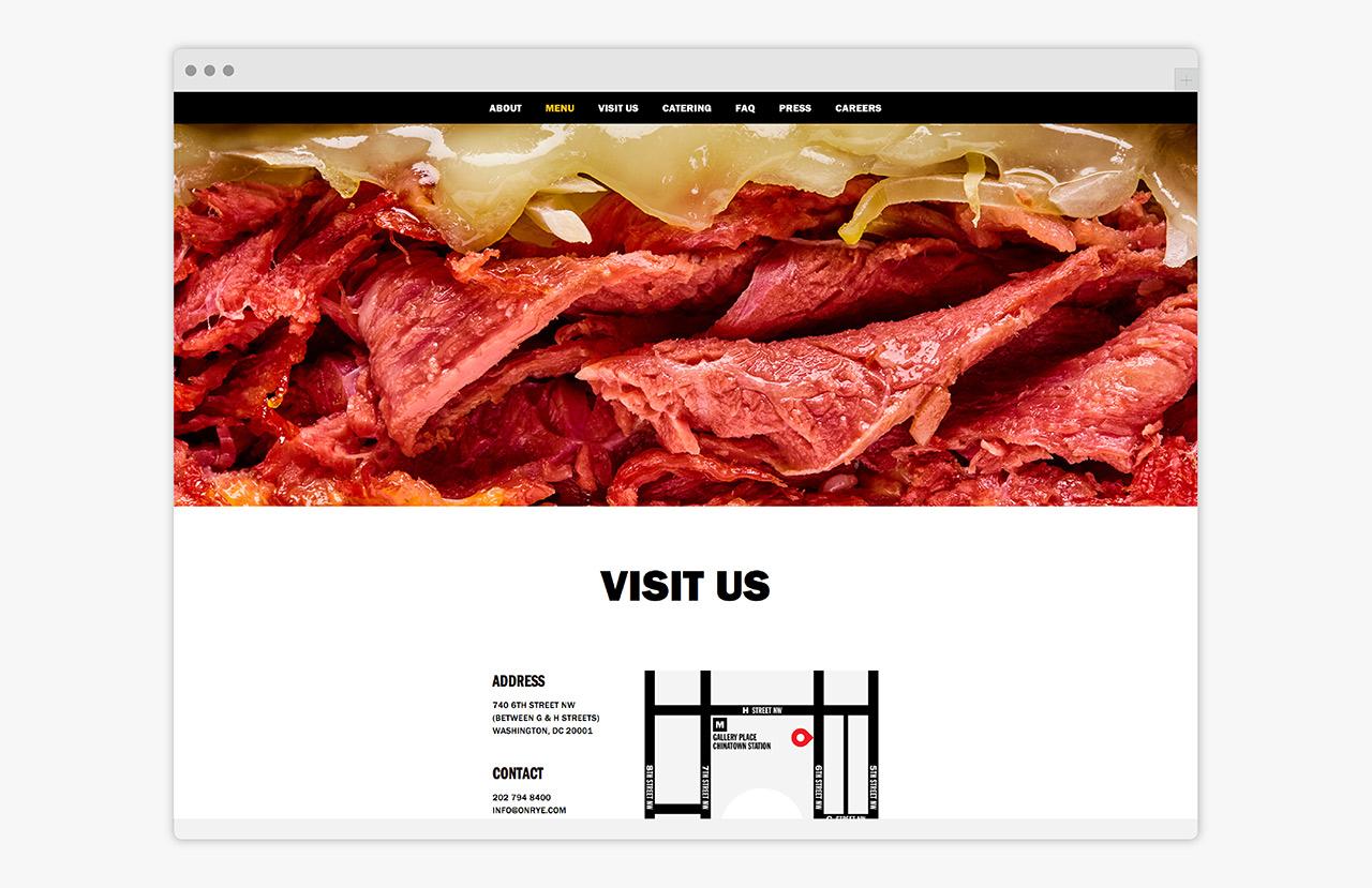 Brand identity and website design by Pentagram for Washington DC sandwich shop On Rye