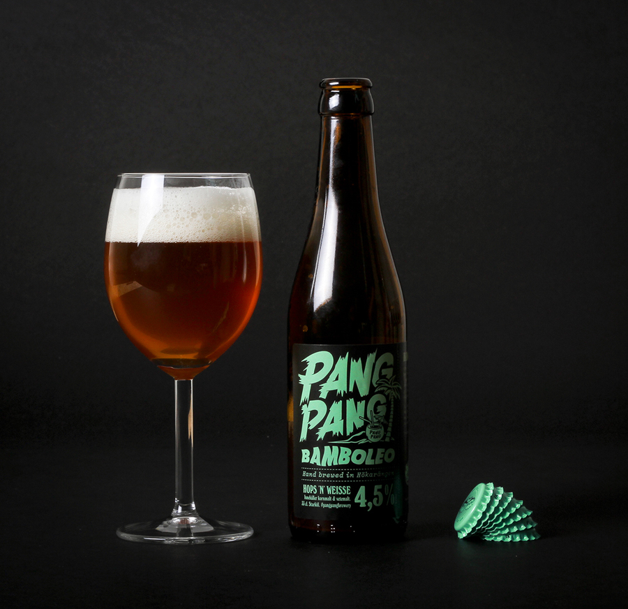 Packaging with custom lettering designed by Swedish design company Snask for microbrewery PangPang's 2014 summer beers