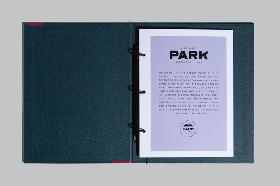 Branding and folder design for Banff based restaurant, bar and distillery Park by Glasfurd & Walker