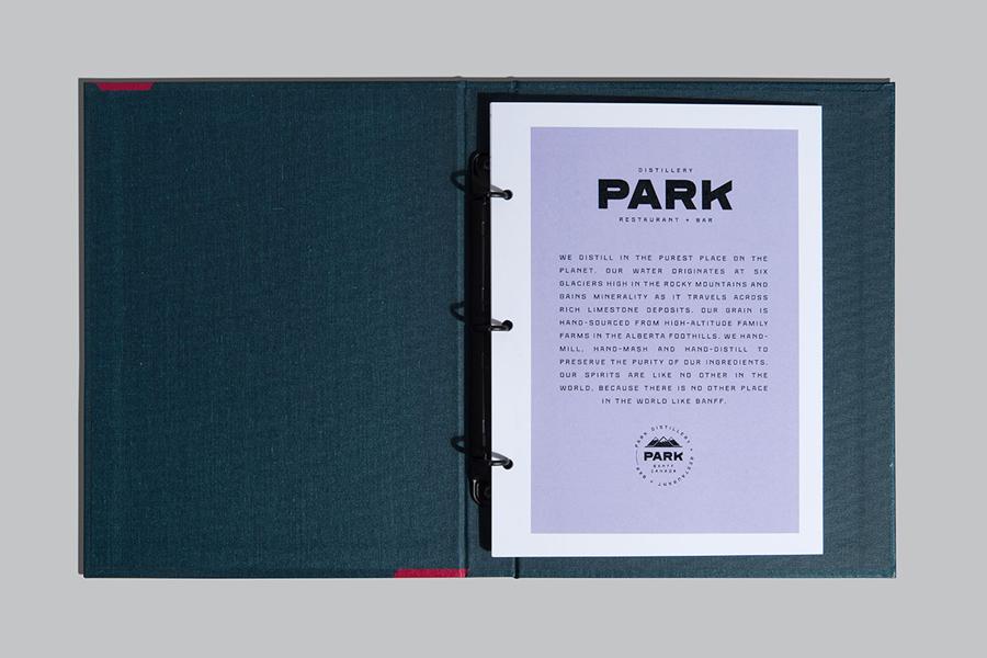 Branding and folder design for Banff based restaurant, bar and distillery Park by Glasfurd & Walker
