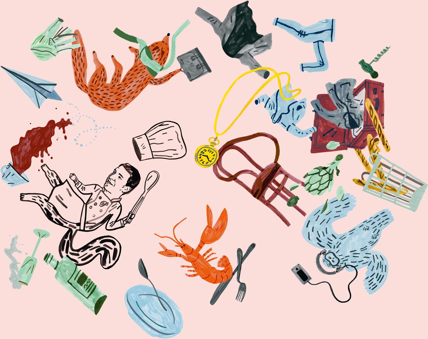 Illustration by Klara Persson for Arlanda Airport restaurant Pontus In The Air